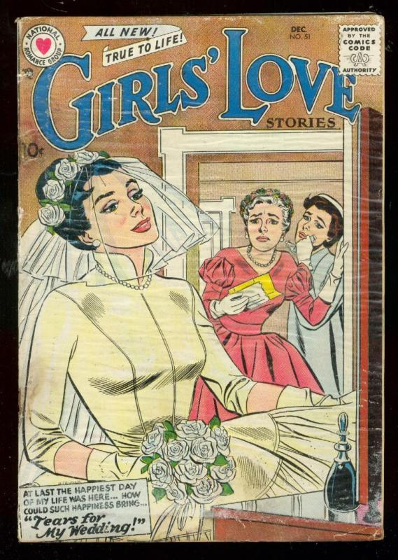 GIRLS LOVE STORIES #51 1957-DC ROMANCE-BRIDE COVER FR/G