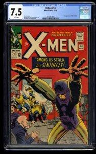 X-Men #14 CGC VF- 7.5 White Pages 1st Sentinels! Marvel Comics