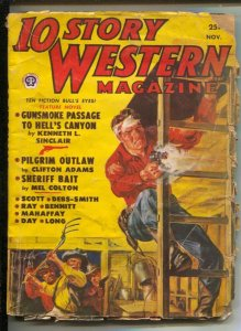 10 Story Western 11/1950-Norman Saunders gunfight cover-Western pulp-G