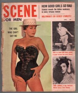 Scene For Men 6/1959-Brigitte Bauda-Tina Louise-Jack Palance-spicy pix-G