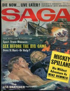 Saga Magazine November 1963-MICKEY SPILLANE-MIKE HAMMER FILM G