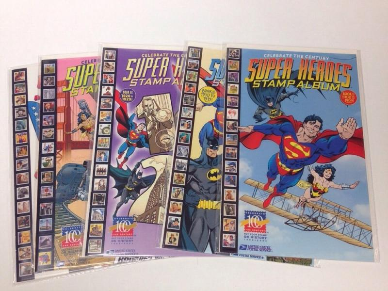 Superheroes Stamp Album 1-5 Near Mint NM Set Lot Run Dc Batman Superman