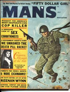 Man's Magazine July 1962-Cleopatra-Parachute cover-Mossad-cop killer