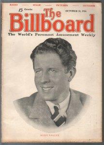 Billboard 10/31/1936-Rudy Vallee cover-pinball ads-coin-op-Juke box-FN