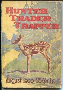 Hunter Trapper Trader 8/1920-pulp format outdoor mag-great ads=VG