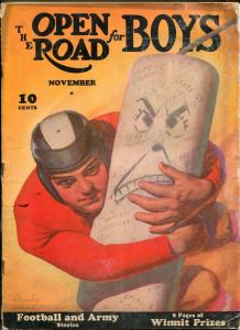OPEN ROAD FOR BOYS 11/1940-FOOTBALL STANLEY LELAND-PULP FICTION-PHOTO COVER-fr