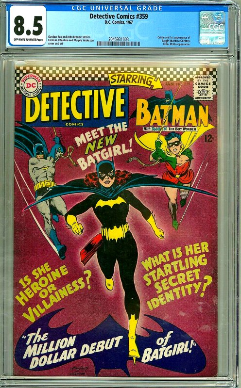 Detective Comic #359 CGC Graded 8.5 Origin and 1St appearance of Batgirl (Bar...