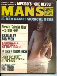 Man's Magazine 11/1969-Isadora Duncan-cheesecake-exploitation-Omar Sharif-VG