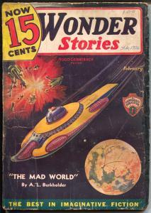 Wonder Stories 2/1936-Gernsback-Frank R Paul-sci-fi pulp thrills-P/F