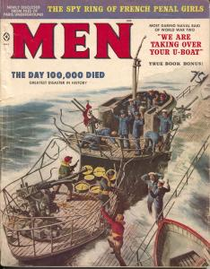 Men 5/1959-Atlas-Nazi U-boat cover-Kunstler-Gross-Pollen-cheesecake-VF-