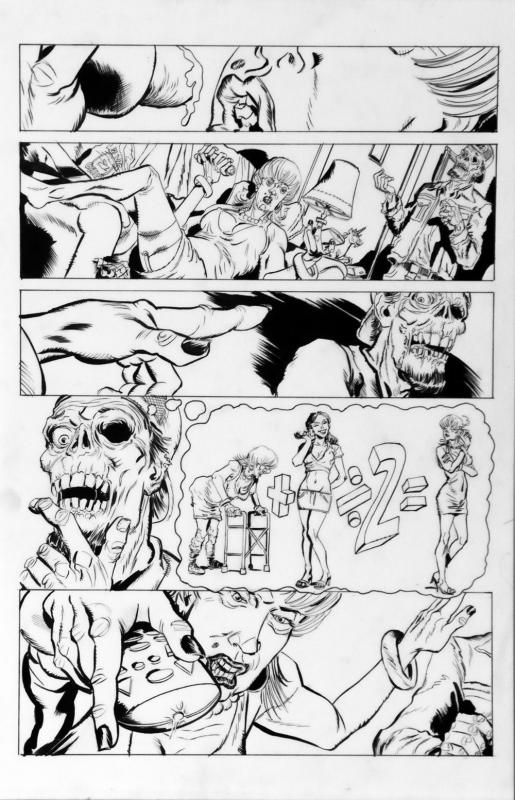 DEAN KOTZ Original Published Art, TRAILER PARK of TERROR #8 page 18, Zombies