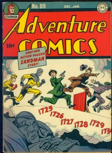Adventure Comics #89 1943/44 Classic Sandman Cover! Signed by Jack Kirby! VG-FN