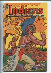 INDIANS #8 1950-FICTION HOUSE-LONG BOW-MANZAR THE WHITE INDIAN-IROQUOIS-vg