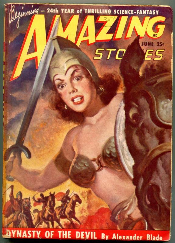 Amazing Stories Pulp June 1949-dynasty of the devil- Headlight cover VG-