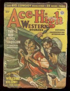 ACE-HIGH WESTERN PULP-AUG 1948-BRUTAL COVER-TOM ROAN FR/G