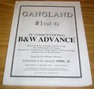 Gangland #1 VF/NM rare b&w advance - tim bradstreet - dave gibbons - quitely