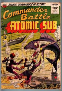 COMMANDER BATTLE AND THE ATOMIC SUB #5-ATOMIC EXPLOSION-COMMIES-3-D EFFECT! G/VG