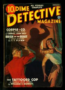 Dime Detective Pulp February 1936- Race Williams- Tattooed Cop- VG+
