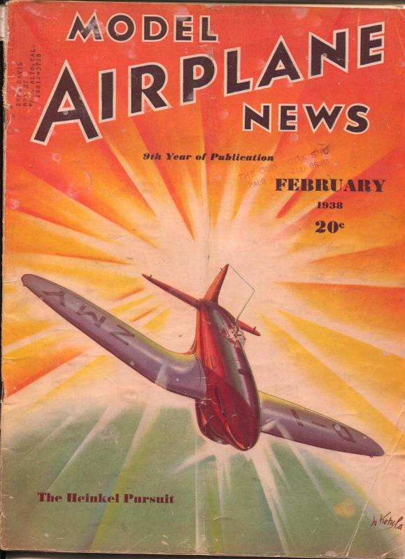 Model Airplane News 2/1938-Heinkel Pursuit plane cover-Josef Kotula-VG