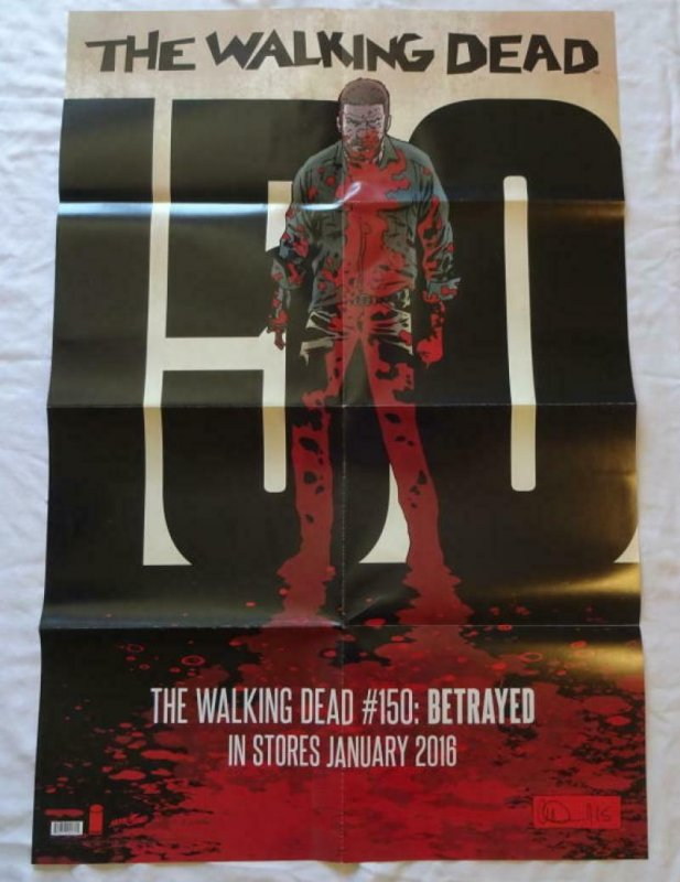 WALKING DEAD #150 Promo poster, 24 x 36, 2015, IMAGE, ZOMBIES, RICK GRIMES 005