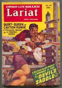 Lariat January 1948- Devil's Saddle- Western Pulp VG