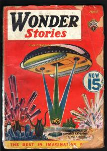 WONDER STORIES 1936 APR-FRANK R PAUL SPACESHIP-PULP G