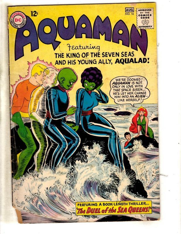 Aquaman # 16 GD/VG DC Silver Age Comic Book Aqualad Mera Sea Queen Batman J321