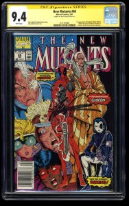 New Mutants #98 CGC NM 9.4 SS Signed Rob Liefeld Newsstand Variant