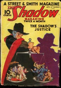 SHADOW 1933 APR 1 WALTER GIBSON SHADOW'S JUSTICE  PULP G/VG