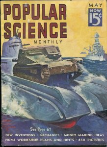 POPULAR SCIENCE 05/1938-PULP STYLE FANTASY TANK COVER-9 X 12-vg