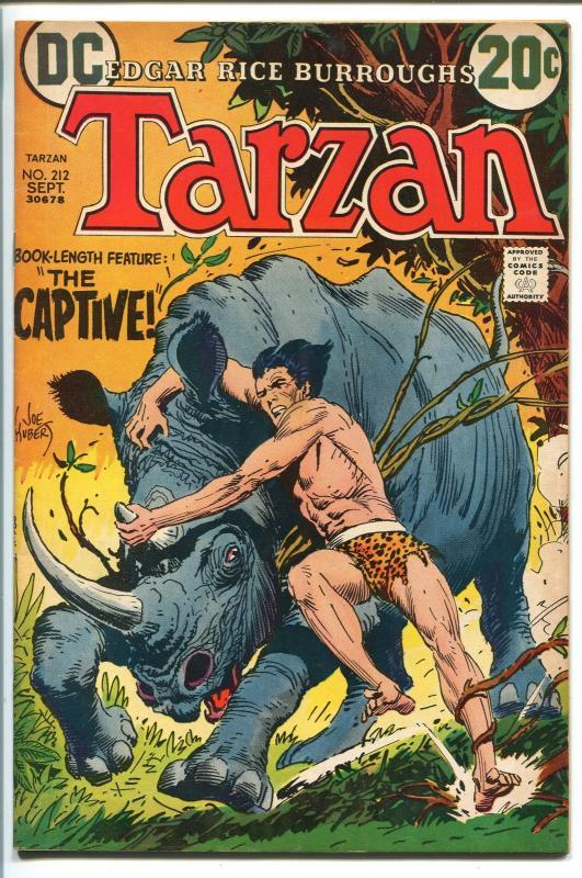 TARZAN #212 1972-DC-EDGAR RICE BURROUGHS-JOE KUBERT JUNGLE ART-vf+