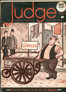Judge Magazine April 1947- humor magazine- girdle cover