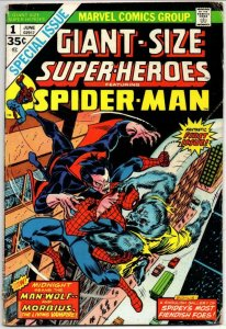 GIANT-SIZE SUPER-HEROES SPIDER-MAN #1, VG+, Morbius, 1974, more ASM in store