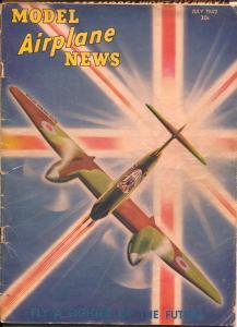 Model Airplane News 8/1939-Futuristic Fighter plane cover-Kotula-G