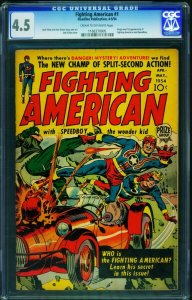 FIGHTING AMERICAN #1-CGC 4.5 1954-PRIZE-ORIGIN-SIMON-KIRBY 1168370005