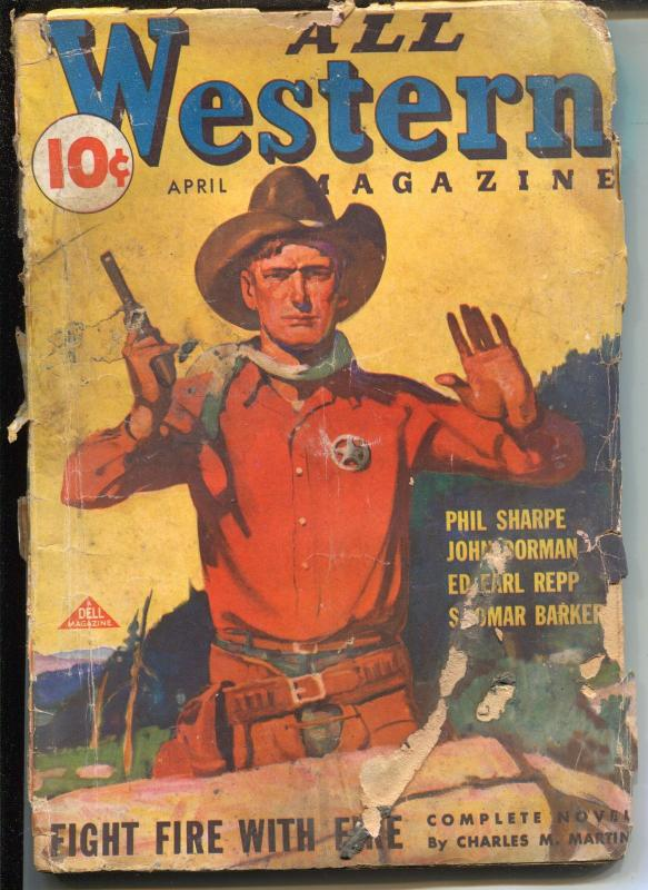 All Western 4/1936-Dell-western pulp thrills-Jesse James-Younger Bros Gang-FR