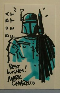 STAR WARS CHRIS MOELLER ARTIST SKETCH W/ AUTOGRAPH BOBA FETT THE MANDALORIAN