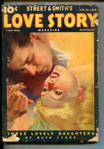 LOVE STORY-04/30/1938-STREET & SMITH-MODEST STEIN COVER-EXOTIC-good/vg