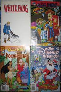 Disney 4 Comic Book Lot White Fang Toy Story Pocahantas Goof Troop Darkwing Duck