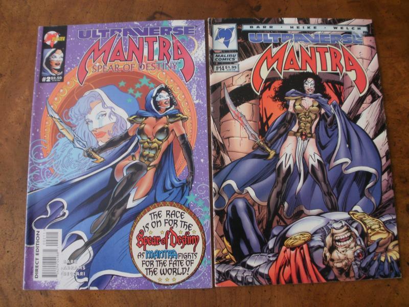 Mantra Spear of Destiny #2 & Mantra #14 (Malibu Comics) Ultraverse 1994 1995