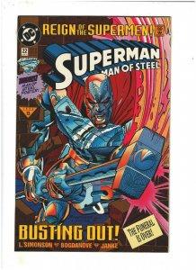 Superman The Man of Steel #22 NM- 9.2 DC Reign of Supermen, w/Poster Regular cvr
