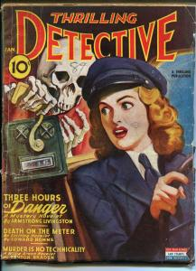 THRILLING DETECTIVE 01/1945-HARD BOILED CRIME-SKELETON-JOHN STEINBECK-WWII -vg