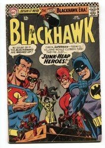 BLACKHAWK #228 1967-SUPERMAN FLASH & BATMAN ON COVER VG
