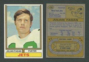 1974 Topps Football / Julian Fagan #436 / ROOKIE  /  NM-MT