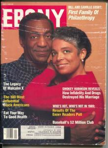 Ebony 5/1989-Bill & Camille Cosby-Malcolm X-Smokey Robinson-VG