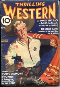 THRILLING WESTERN  APR 1937--RED MAN'S RANGE by A LESLIE---J ALLAN DUNN--LEE ...