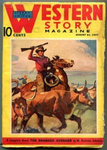 Western Story Pulp August 21 1937- Branded Avenger G