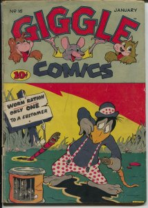 Giggle #16 1944-ACG-bizarre worm cover-Hitler-African American woman-VG-