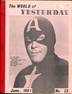 World of Yesterday #32 6/1981-Capt America-Dick Purcell-Otto Kruger-G/VG