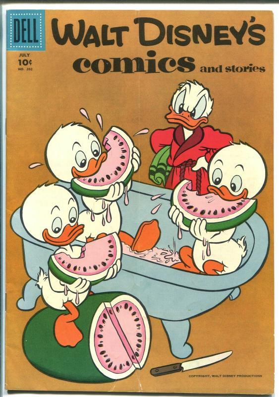 WALT DISNEY'S COMICS AND STORIES #202 1957-MICKEY-DONALD-CARL BARKS-vg